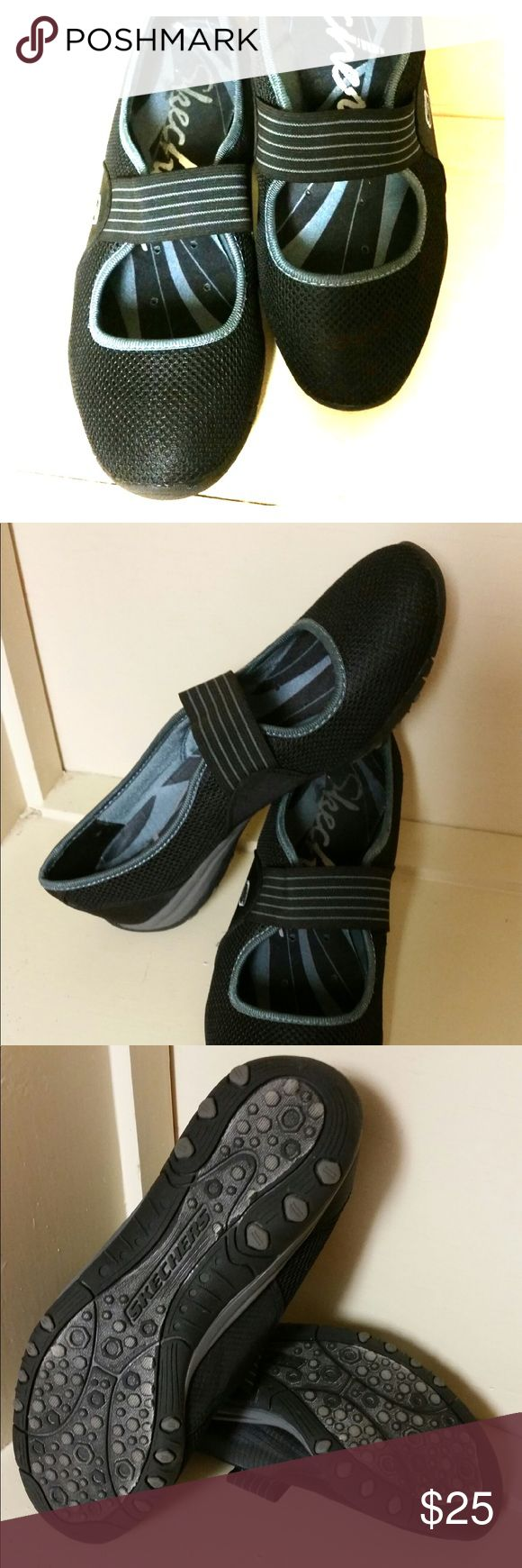 Skechers MaryJanes SKECHERS Black Mesh/Ripstop Fabric Elastic Strap Mary Janes Size: 8.                                                       Nice condition. No major marks or damage. Skechers Shoes Flats & Loafers