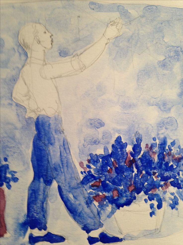 Water colour.  Acuarela usando la paleta de los azulejos Pas de Caláis.  Marta Day