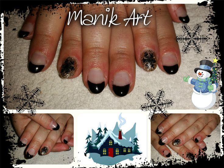 #noel #christmas #snowflake #black #gold #nail #ongle #flocon #noir #nailart #design