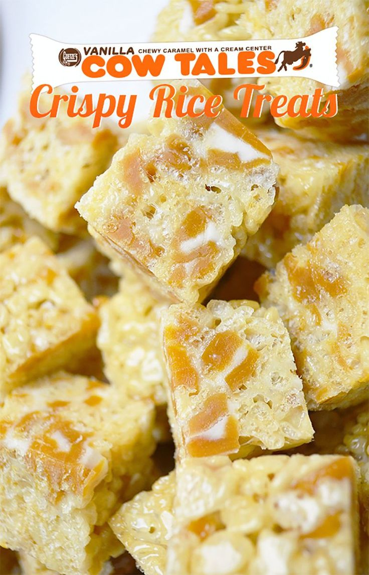 Pin & share this recipe for caramel rice crispy bites made with Cow Tales!