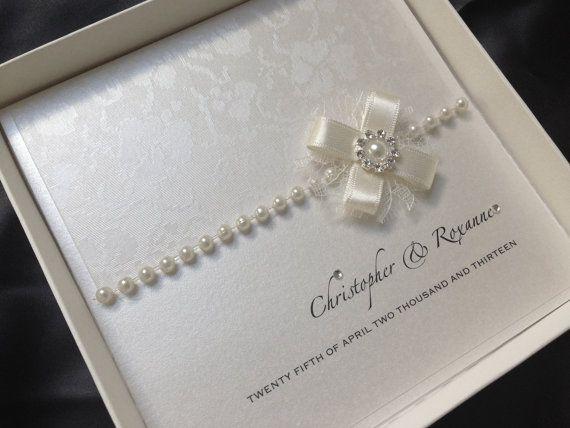 $7.60 SAMPLE luxury handmade personalised wedding invitation lace posy design