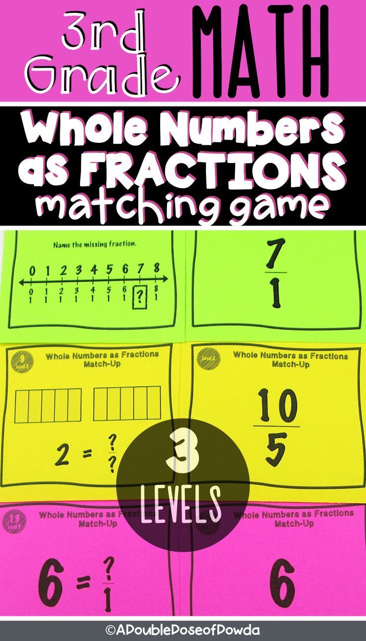 Whole Numbers As Fractions Matching Game Let Students Practice Identifying Whole Numbers As Fractions Elementary Math Centers Elementary Math Games Fractions [ 1288 x 736 Pixel ]