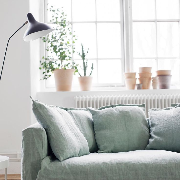 beautiful pale green sofa via @room21dk on Instagram — consciously crafted essentials for the uncomplicated lifestyle. capsule wardrobe collection coming soon @ unadorned.co