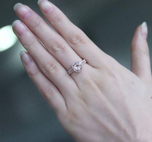 VS Morganite Engagement Ring Diamonds Matching Wedding Band 14k Rose