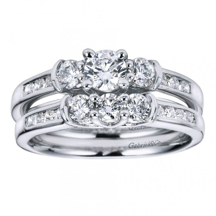 Cushion Cut Engagement Rings : Channel Set Modern Three Stone Enagement Ring Setting with Round Sidestones ER3967W44JJ