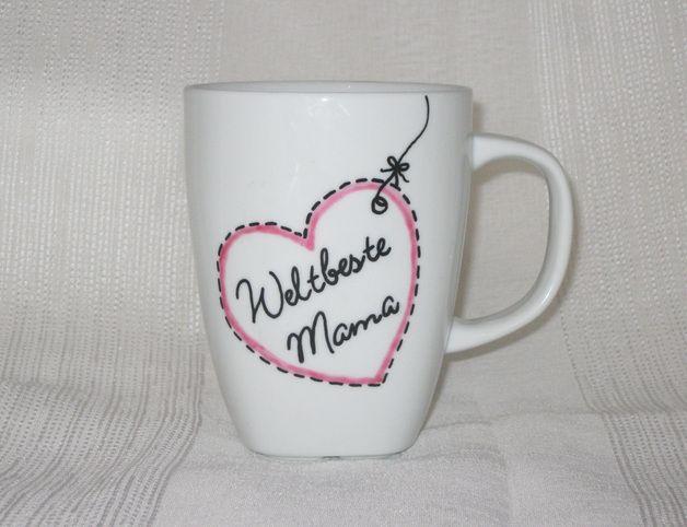 """Becher & Tassen - Tasse - """"Weltbeste Mama"""" mit Herz - ein Designerstück von Hug-in-a-Cup bei DaWanda"""