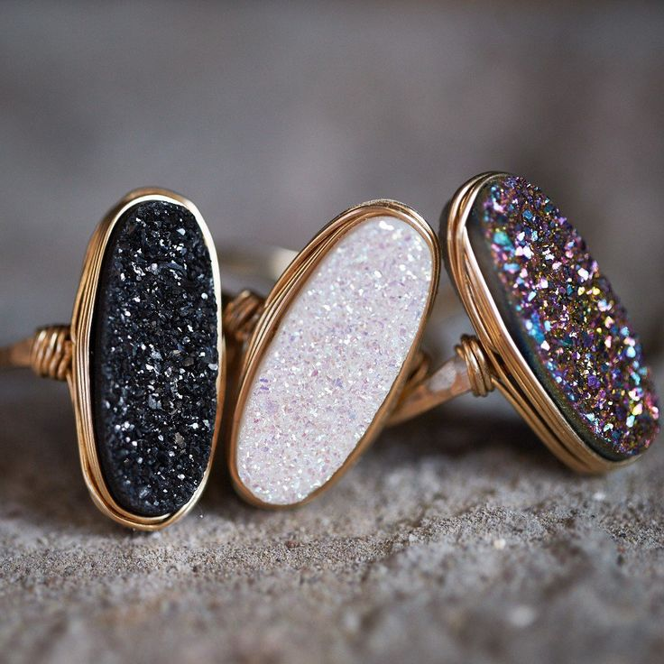 A touch of sparkle goes a long way. This gorgeous ring features a Druzy Quartz oval in a striking black titanium finish, secured and wrapped to a sturdy band in a signature bezel style to create a glistening statement ring.