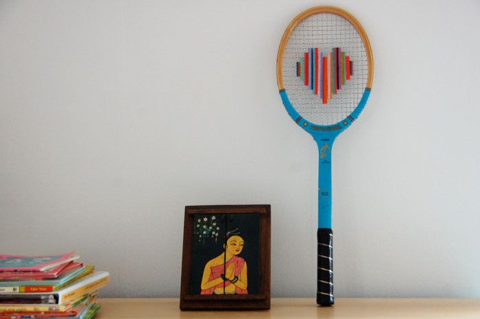 Not necessarily Cross-stitch, but you could  use a cross stitch again. I always find rackets at my vv.