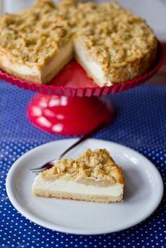 Rezept für Vanille-Cheesecake mit Apfel-Streuseln von moeyskitchen.com