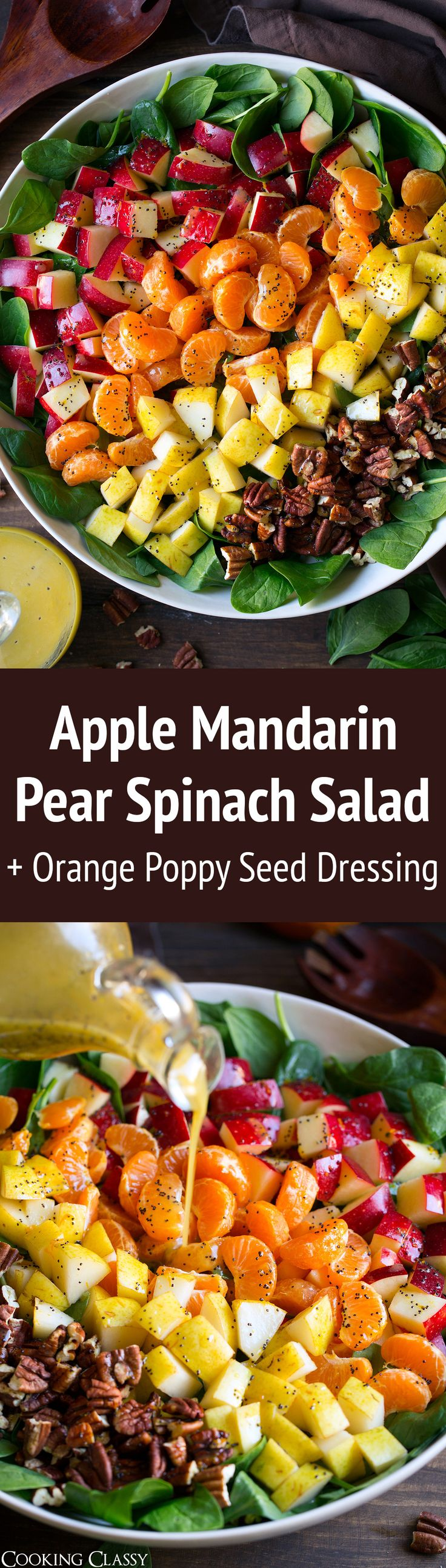 Apple Mandarin Orange Pear and Feta Spinach Salad with Orange Poppy Seed Dressing - Cooking Classy http://eatdojo.com/healthy-recipes-salads-haters/