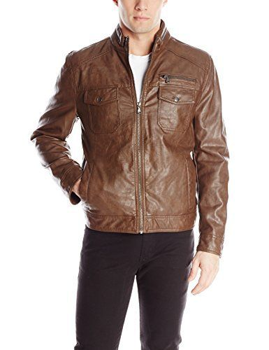 """Faux leather moto hipster jacket with flap chest pockets       Famous Words of Inspiration...""""He who is not courageous enough to take risks will accomplish nothing in life.""""   Muhammad Ali — Click here for more from Muhammad...  More details at https://jackets-lovers.bestselleroutlets.com/mens-jackets-coats/leather-faux-leather/product-review-for-kenneth-cole-reaction-mens-faux-leather-moto-jacket/"""