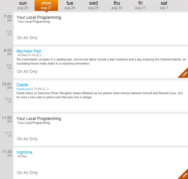 Hotwire Communications - Tonights Primetime Schedule On ABC