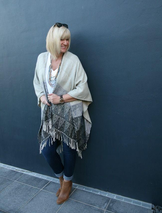 Iris May Style wearing our Katies, Zig Zag Blanket Wrap