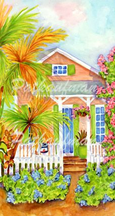 cottages and beach living paintings Bougainvillea Lane II