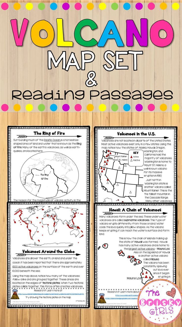 Volcano Map Set With Reading Passages Topics On Volcanoes Around The Worlds The Ring Of Fire Reading Passages Volcano Activities Social Studies Activities [ 1324 x 736 Pixel ]