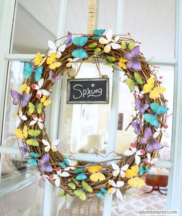 Butterfly Spring Wreath - Up to Date Interiors (All you need is a printer and a wreath form!)
