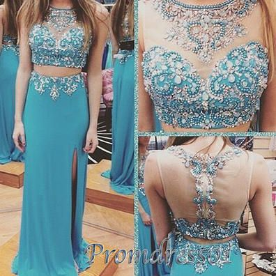 Pretty long prom dress with slit, ball gown 2016, handmade beaded blue chiffon two pieces evening dress for teens www.promdress01.c... #coniefox #2016prom