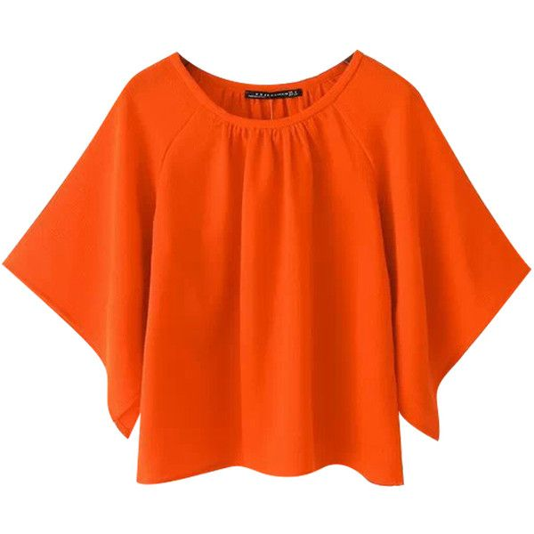 Chicnova Fashion Pure Color Bat Batwing Sleeves T-shirt (€12) ❤ liked on Polyvore featuring tops, t-shirts, bat t shirt, orange tee, orange t shirt, orange top and batwing sleeve tops