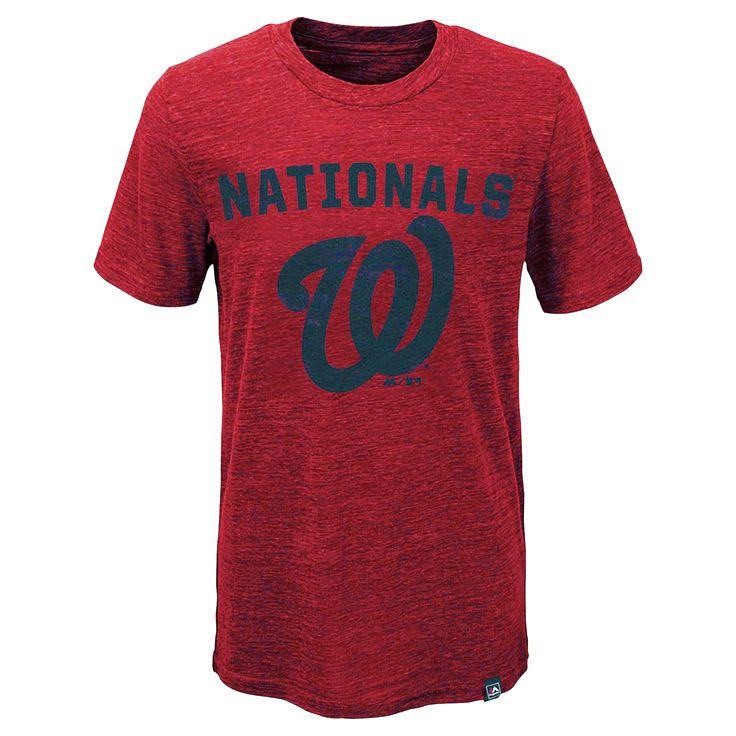 Washington Nationals Majestic Youth Hours And Hours Slub Tri-Blend T-Shirt - Heathered Red - $20.79