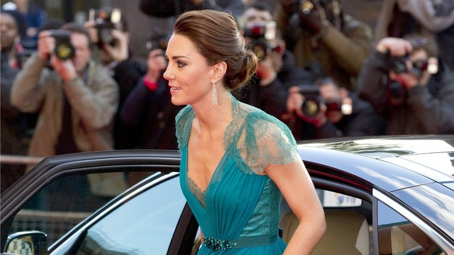 Catherine, Duchess of Cambridge, arrives at the Royal Albert Hall for a British Olympic Team GB gala event in London, Friday, May 11, 2012.