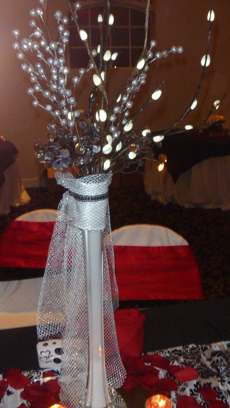 17 best ideas about red silver wedding on pinterest red wedding receptions black silver - Red and silver centerpiece ideas ...