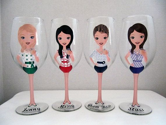 Create a Character Wine Glasses Wedding Wine by JennyDsCreations, $25.00
