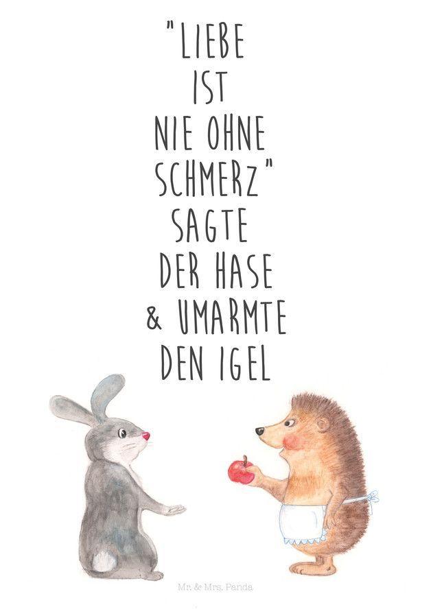 Kunstdruck mit Spruch über die Liebe, illustrierte Tiere / cute illustrated art… – DaWanda Deutschland