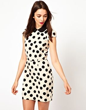 A Wear Spotty Mini Dress With Contrast Collar