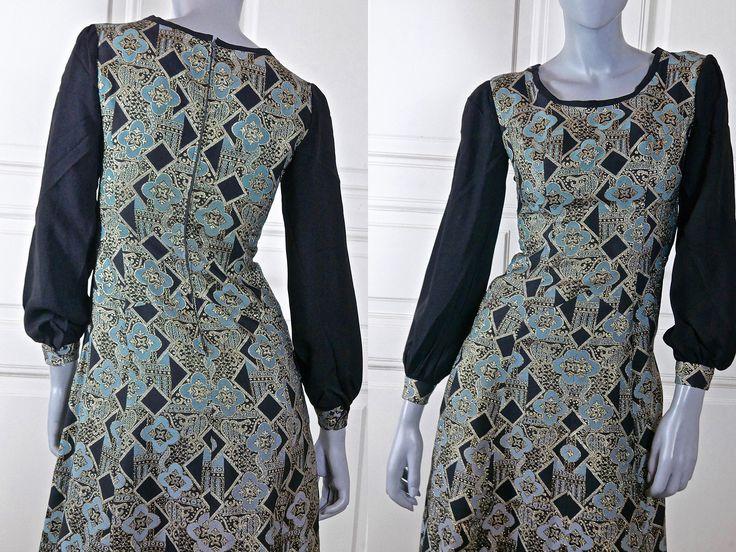Italian Vintage Maxi Evening Dress, 1960s Black Turquoise Silver Gold Brocade European Slimline Hostess Dress: Size 6 US, Size 10 UK by YouLookAmazing on Etsy