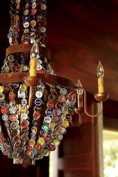 Bottle cap chandelier