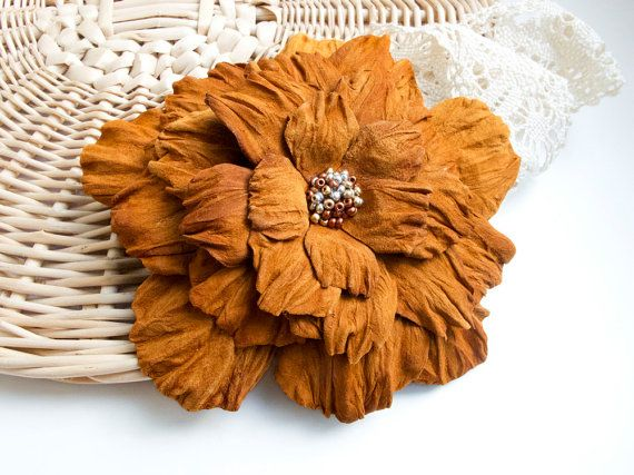 Orange suede leather flower brooch, statement brooch, cocktail pin, leather jewelry, gift for her, leather flower, Rose brooch
