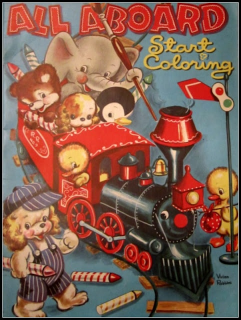 All Aboard Vintage Coloring Book
