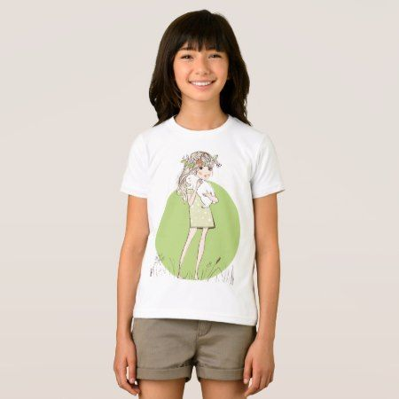 Girl with bunny illustration green girly t-shirt - click to get yours right now!