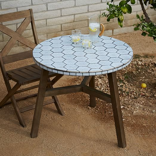 Mosaic Tiled Bistro Table - Spider Web