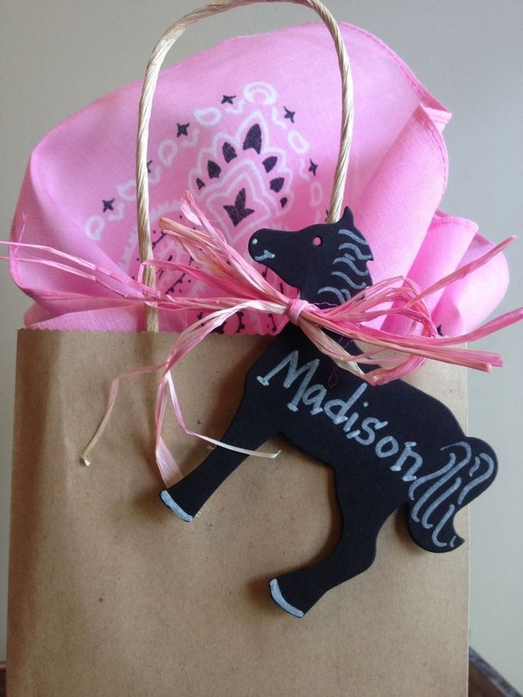 24 Chalkboard Pony Horse Western Cowgirl Birthday party favor tags labels #handmade #Birthday