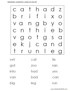 Free Printables for BOB Books- word matching, word searches...