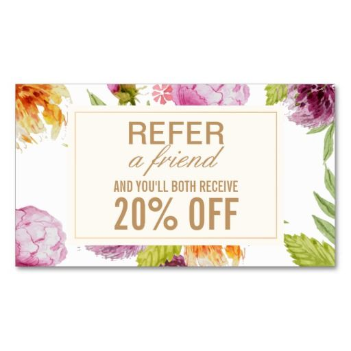 Refer a Friend Beauty Salon Floral Referral Card-Make it Yours!