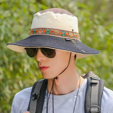 Color block fishing bucket hat with string for men UV outdoor sun hats