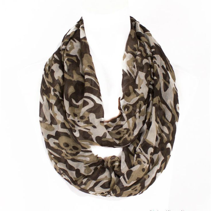 2015 Winter Scarf Military Hunting Camouflage Style Ring Loop Scarf Lady Soft Warm Infinity Scarves Skull Print Cowl Neckscarfs