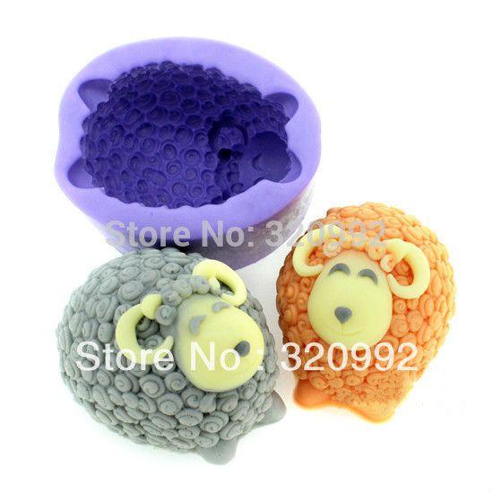 Livraison gratuite 1 Pcs mignon moutons moule en Silicone bricolage Fondant moules outils de décoration de gâteau au chocolat à la main moules bougie Soap moule(China (Mainland))