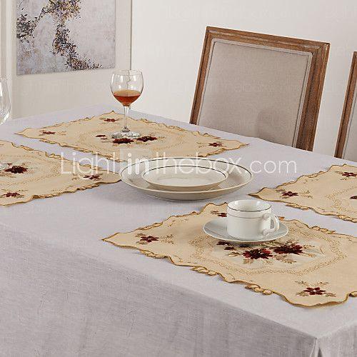 Sett med 6 bordbrikker Floral Polyester - NOK kr88
