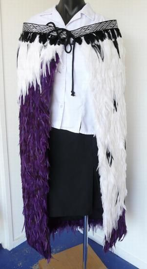 Beautiful Purple and White Maori Korowai Cloak