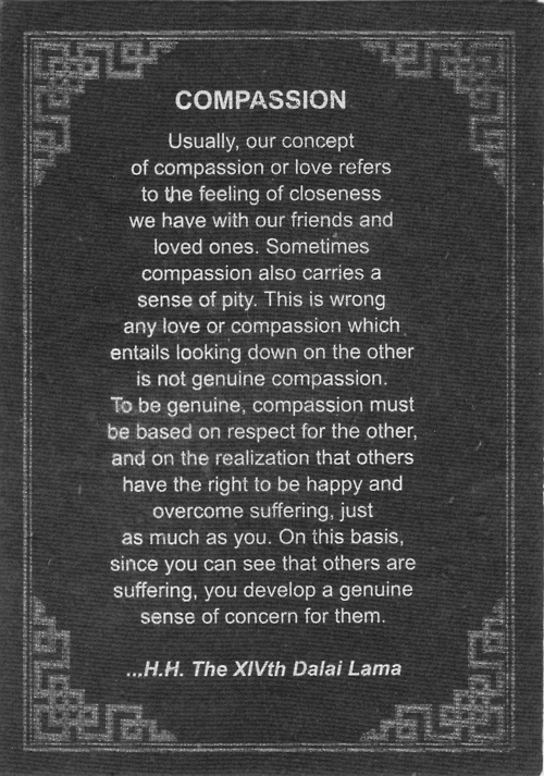 I think this breaks down the definition of being compassionate in a very elegant manner, without being too idealistic. Simply, compassion begins with respect for another and then builds from that idea. If you respect them, in turn you will start to care for their well being. Just as you would like them to do for you in the opposite situation. - Cody Powers