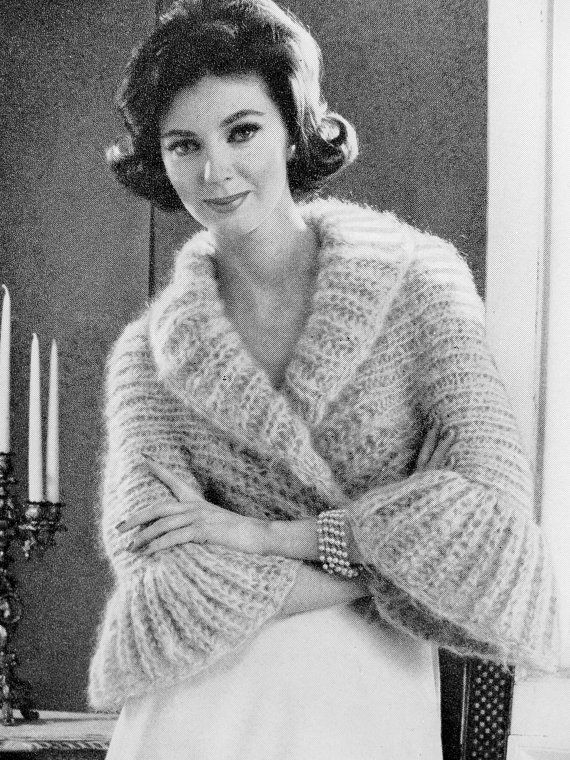 INSTANT PDF PATTERN 1960s Vintage Knitting Pattern Shrug Sweater Jacket Lovely Shawl Collar Bell Sleeves Day or Evening Unique Knit Pattern on Etsy, $3.00