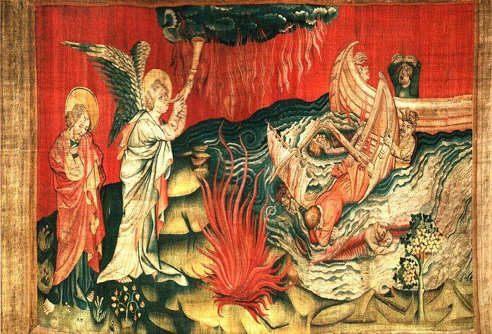 """In opdracht van Lodewijk I van Anjou, werd het Apocalyps wandtapijt gemaakt.    Hennequin de Bruges  (Jan van Bondol), Vlaams kunst- en miniatuurschilder, ontwierp de voorstellingen.  Het duurde 7 jaar (tussen 1373 en 1380) met 35 wevers, om dit monumentale meesterwerk, uniek in de wereld, kon worden afgeleverd op het kasteel van Angers. """"Schipbreuk"""""""