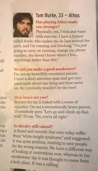 Brilliant interview with Tom Burke in January's Radio Times. Love the answer to the first question!