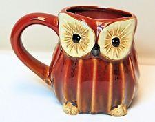 "Cracker Barrel Red Brown Owl Mug 3.75"" Tall Ceramic Pottery Nice Coffee Tea Cup"