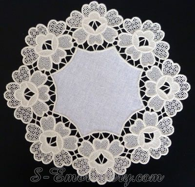 idea - doily made with FSL designs i've collected, such as this one: http://www.cuteembroidery.com/6632902_battenberg-rose-4x4.html
