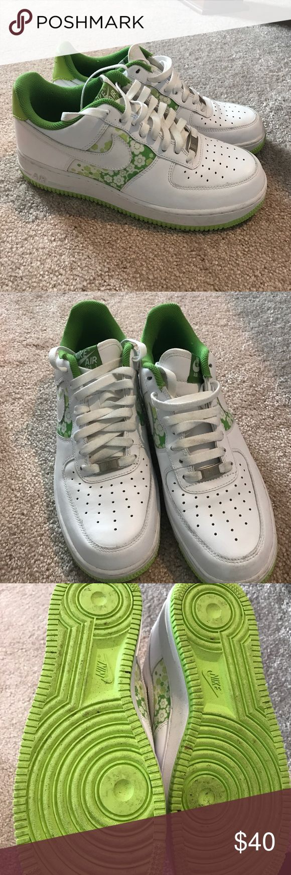 Nike Air Force 1 Nike Air Force 1. White and lime green. Worn once. Nike Shoes Sneakers