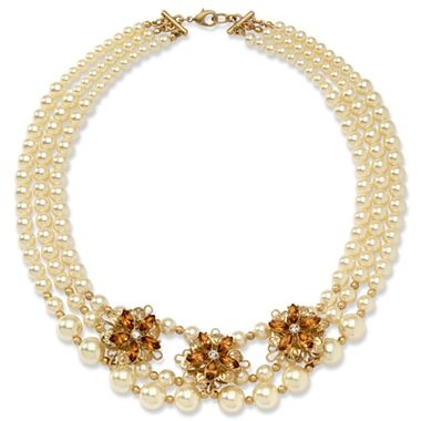 Simulated Pearl Multi-Row Floral Necklace - jcpenney